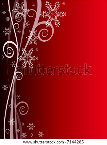 Red Winter Snowflake Background for Christmas - stock photo