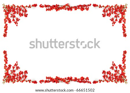 Red winterberry Christmas frame with holly berries on branches - stock photo