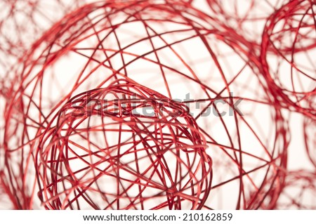 red wires spheres - stock photo