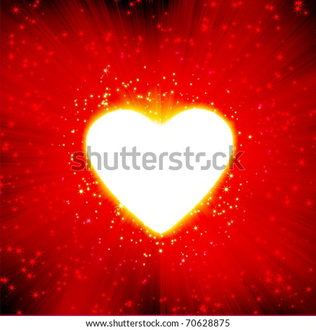 red  with a glow of white light heart shape and stars - stock photo
