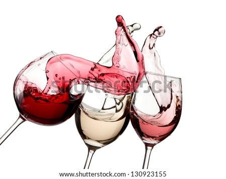 Red, with and rose wine up - stock photo