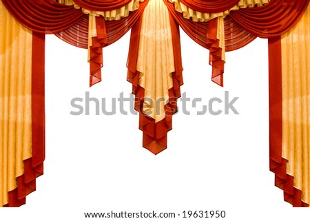 red with gold stage curtain isolated on white