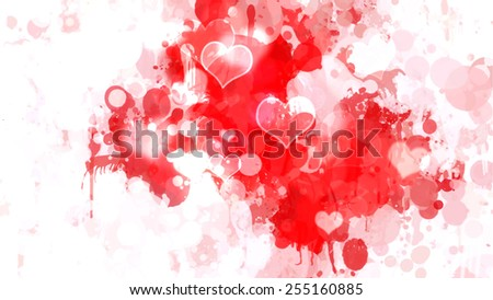 Red with white brush strokes background. Raster version - stock photo