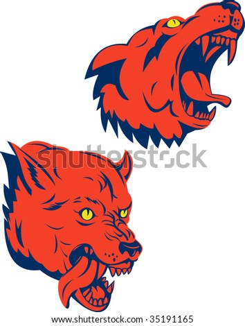 Red wolf snarling and biting - stock photo