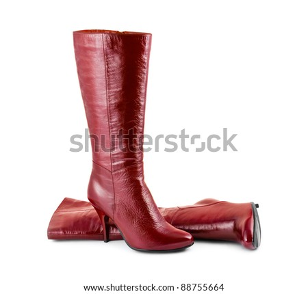 Red woman boots isolated on white background - stock photo