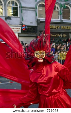 Red Woman in Parade - stock photo