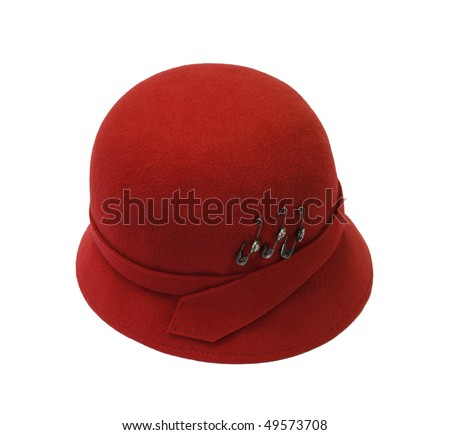 red woman's hat with safety pins - stock photo