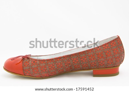 red woman shoe on white background