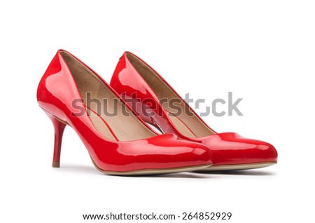 Red woman shoes isolated on the white background - stock photo