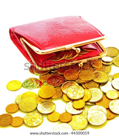 Red woman wallet and coin