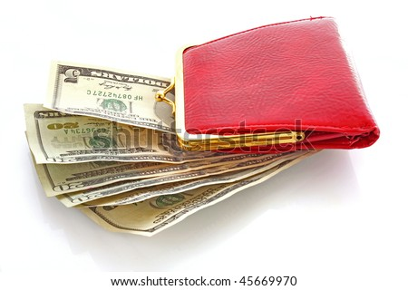 Red woman wallet and money - stock photo
