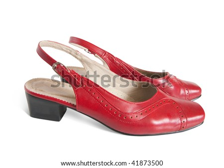 Red womanish shoes isolated on  white background with clipping path