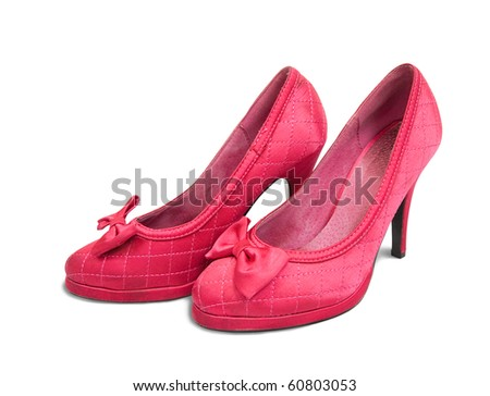 Red womanish shoes isolated on  white background with clipping path - stock photo