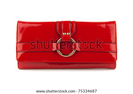 Red women bag isolated on a white background - stock photo