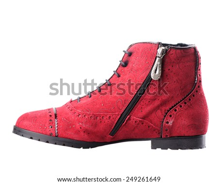 Red women boot  isolated on white background. - stock photo
