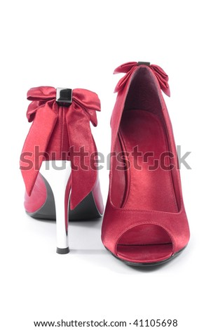 Red women high heel shoes closeup on white background - stock photo