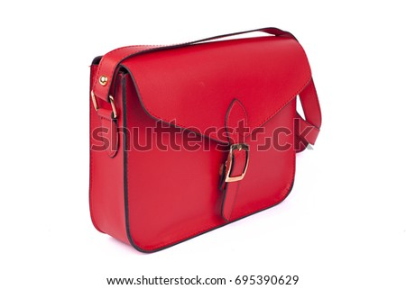 Red Women's handbag, Ladies bag, Red female clutch, Red clutch.Women's bag isolated white background.Bag isolated white background.Clutch isolated white background.