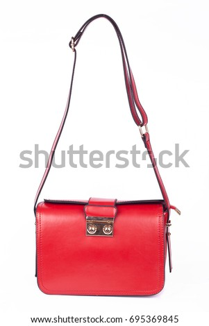 Red Women's handbag, Ladies bag, Red female clutch,Red clutch.Women's bag isolated white background.Bag isolated white background.Clutch isolated white background.