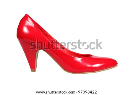 Red women's heel shoe isolated over white with clipping path. - stock photo