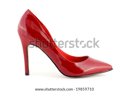 Red women shoe isolated on white background - stock photo
