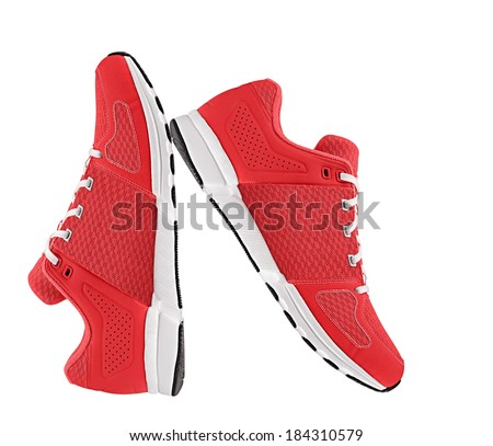 red womens sport shoes - stock photo