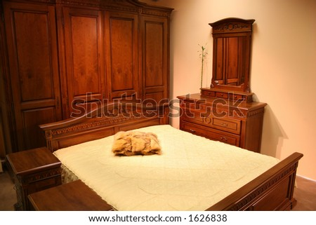 red wood bedroom - stock photo