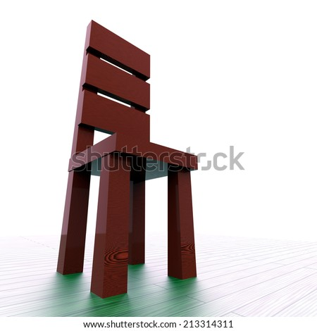 Red wood chair on the white background - stock photo