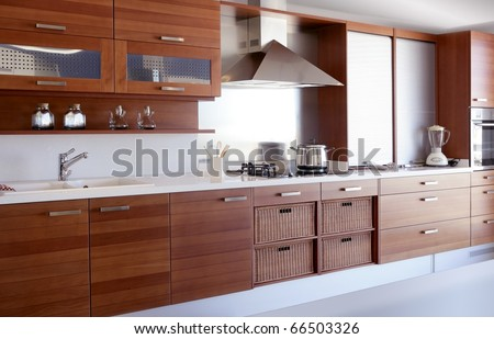 red wood kitchen white kitchen bench modern interior decoration - stock photo