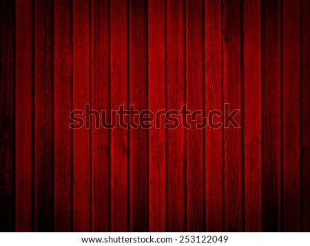 Red wood with wall vertical panels and vignette for texture or background - stock photo