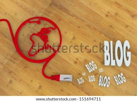 Red  wooden blogger 3d graphic with networking blog icon on network to home office desk - stock photo