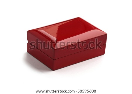 Red wooden box isolated on a white background