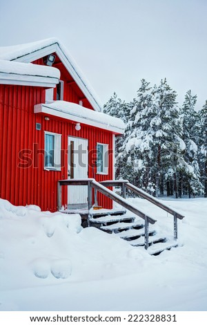 Red wooden Finnish house in winter forest covered with snow. Vertical view - stock photo