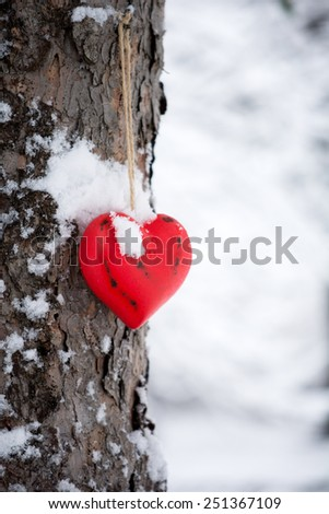 Red wooden heart covered with snow on tree  - stock photo