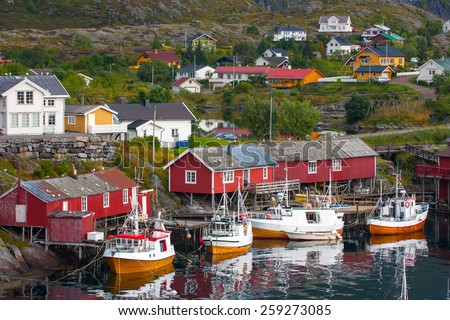 red wooden house at the Lofoten archipelago, norway - stock photo