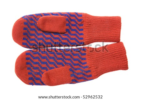 Red wool mittens with blue ornament isolated on white background - stock photo
