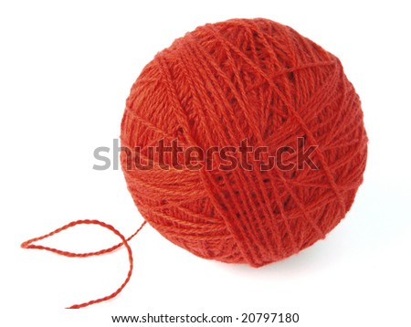 red wool skein for knitting - stock photo