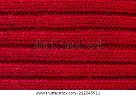 Red Wool Texture Background Close-up - stock photo
