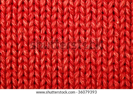 Red woolen texture, bay be used as background - stock photo