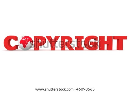red word Copyright with 3D globe replacing letter O