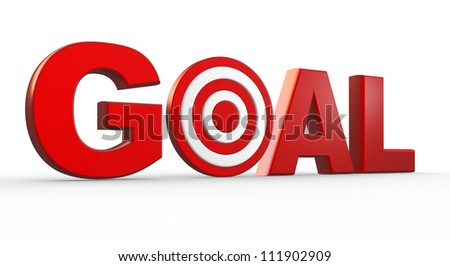 """Red word """"Goal"""" as a target. 3d render - stock photo"""