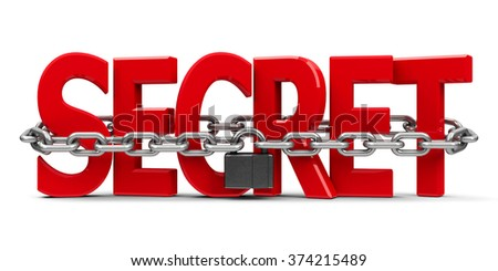 Red word Secret with chain and lock isolated on white background, security concept, three-dimensional rendering