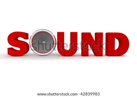 red word Sound - the letter o is replaced by a speaker
