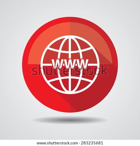 Red Www icon, Internet sign icon. World wide web symbol on a white background.  - stock photo