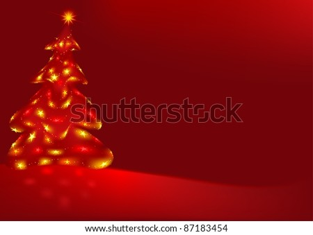Red Xmas and Xmas Tree - colored abstract illustration