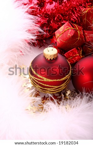 Red xmas balls - stock photo