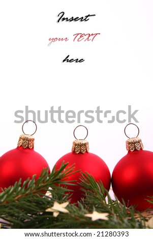 Red xmas balls and place for sample text