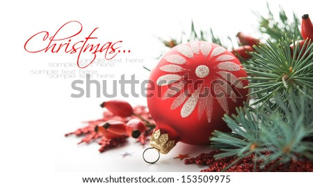 Red xmas decoration on the white with copy space - stock photo
