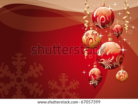 red xmas greeting card - stock photo