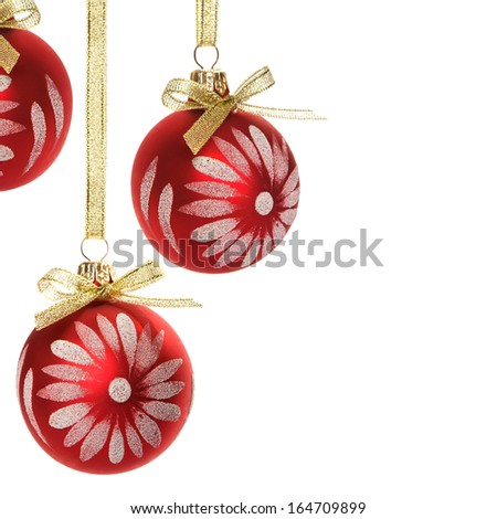 Red xmas ornaments isolated on white background - stock photo