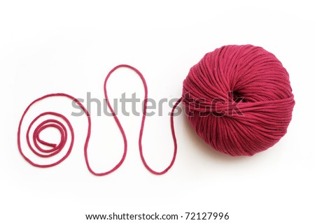 Red yarn for knitting - stock photo